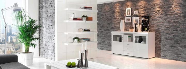 Kamień dekoracyjny w minimalistycznym salonie