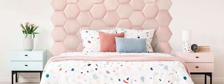 Sypialnia z tapicerowanym zagłówkiem