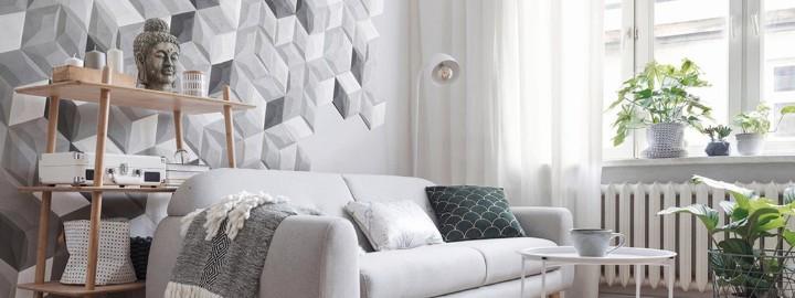 Trójwymiarowa ściana w salonie
