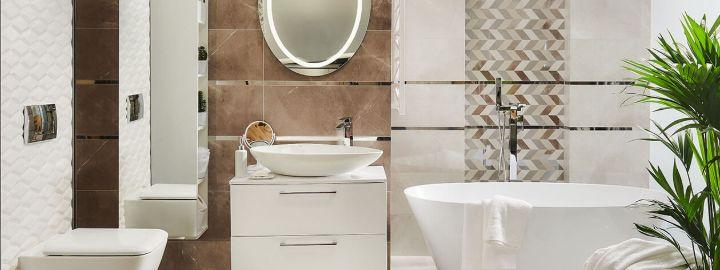 Eklektyczna łazienka w odcieniach beżu