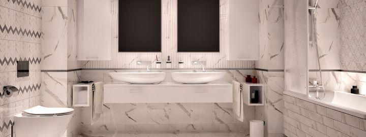 Elegancka łazienka z dwoma umywalkami