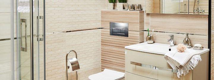 Mała łazienka w ciepłych barwach
