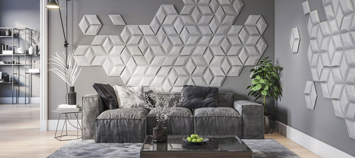 Ściana w monochromatycznym salonie