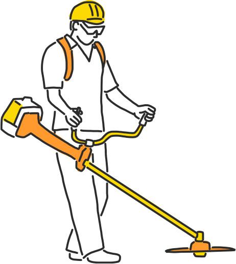 Pracownik budowlany koszący trawę