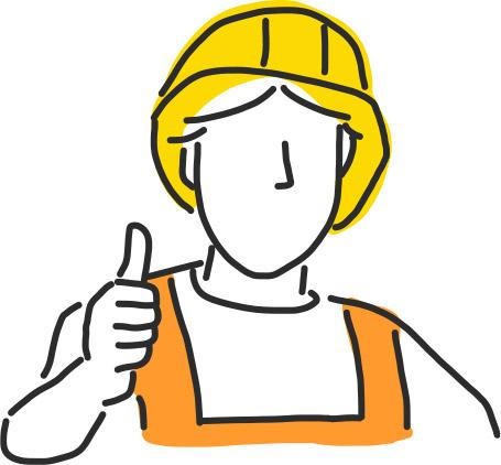 Pracownik budowlany z kciukiem do góry